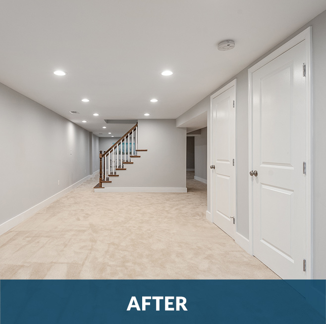 After picture of a basement remodeling project by Stello Homes