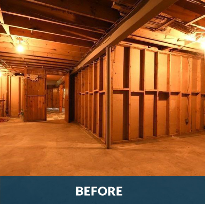 Before picture of a basement remodeling project by Stello Homes