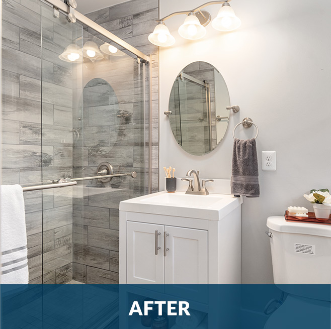 After picture of an interior bathroom remodeling project with granite and tile flooring by Stello Homes
