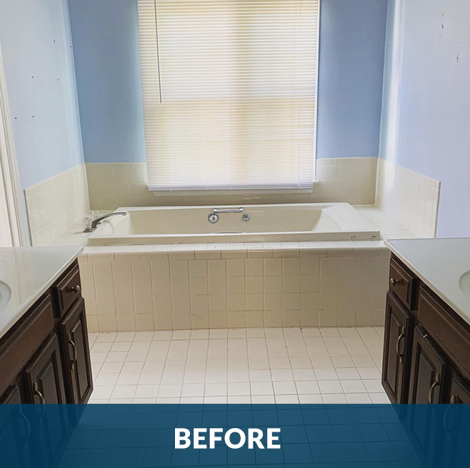 Before picture of an interior bathroom remodeling project by Stello Homes