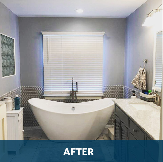 After picture of an interior bathroom remodeling project by Stello Homes